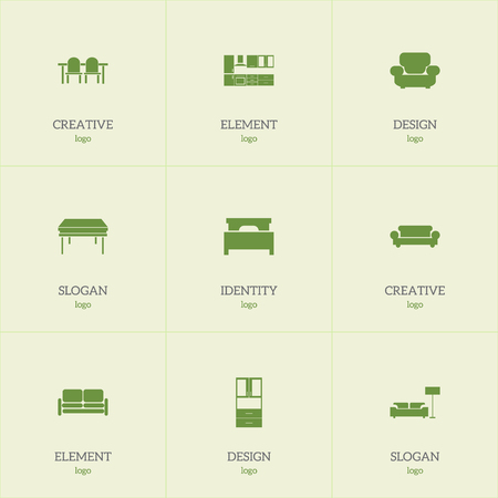 kitchen cabinets: Set Of 9 Editable Furniture Icons. Includes Symbols Such As Trestle, Wardrobe, Settee And More