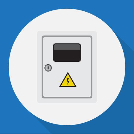 Vectorillustratie van elektrisch symbool op elektrische platte pictogram Stock Illustratie