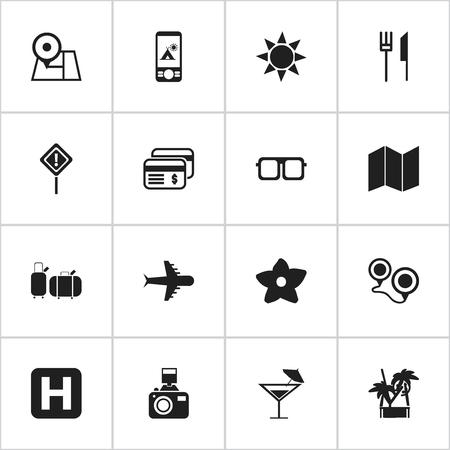 insolación: Conjunto De 16 Iconos De Viaje Editable. Incluye símbolos tales como dinero plástico, cóctel, insolación y más