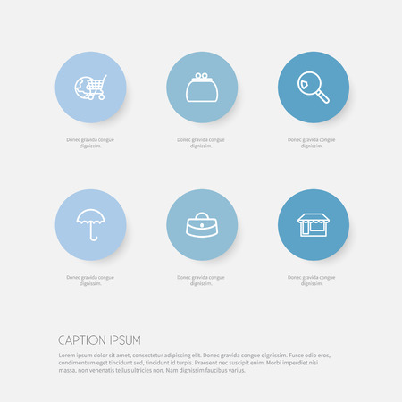 Set Of 6 Editable Trade Outline Icons. Includes Symbols Such As Globe Cart, Woman Bag, Search And More Illustration