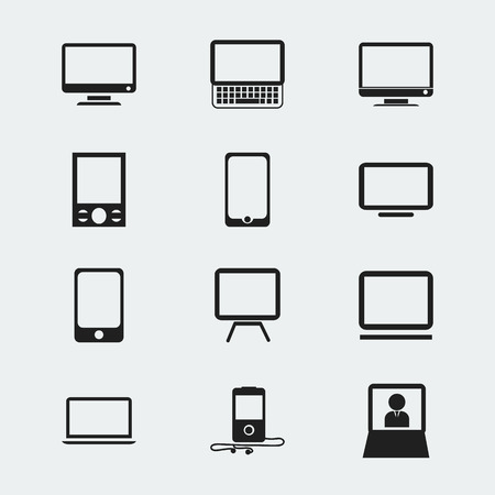 lcd tv: Set Of 12 Editable Devices Icons. Includes Symbols Such As Television, Tv, Laptop And More