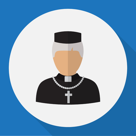 predicador: Vector Illustration Of Occupation Symbol On Priest Flat Icon
