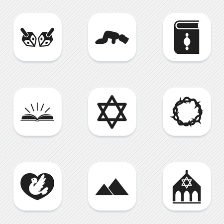 Set Of 9 Editable Dyne Icons. Includes Symbols Such As Giza, Hexagram, Religious Book And More