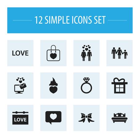 12 の編集可能なハートのアイコンのセットです。愛のメッセージ、愛、血統などの記号が含まれています