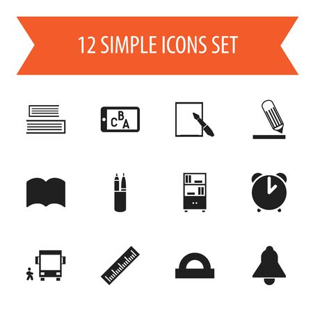 Set Of 12 Editable Science Icons. Includes Symbols Such As Phone Play, Writing, Bookcase And More