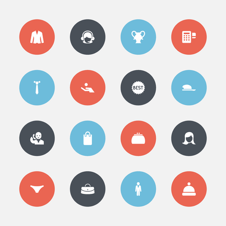Set Of 16 Editable Trade Icons. Includes Symbols Such As Underwear, Wallet, Cardigan And More Illustration