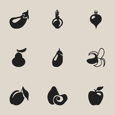 Set Of 9 Editable Fruits Icons. Includes Symbols Such As Aubergine, Banana, Honeycrisp And More Illustration