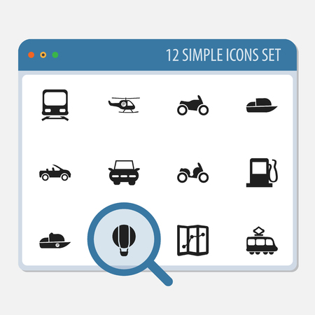 freight train: Set Of 12 Editable Shipment Icons. Includes Symbols Such As Navigation, Helicopter, Wagon And More