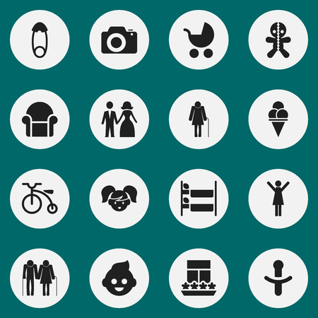 Set Of 16 Editable Folks Icons. Includes Symbols Such As Perambulator, Nipple, Balcony And More