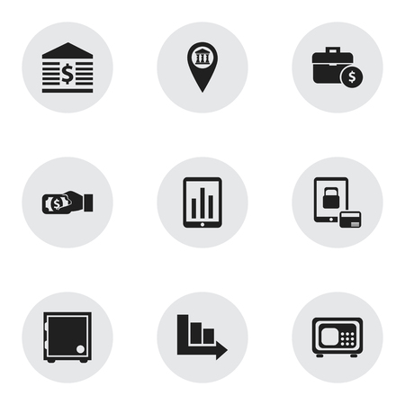 Set Of 9 Editable Finance Icons. Includes Symbols Such As Handbag, Pay, Pinpoint Ilustração