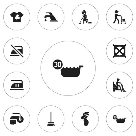 Set Of 12 Editable Cleaning Icons. Includes Symbols Such As No Laundry, Cold Water, Smoothing And More Illustration