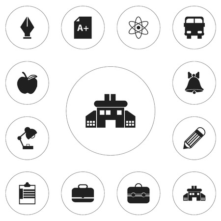 nib: Set Of 12 Editable School Icons. Includes Symbols Such As Page, Lighting, Kindergarten And More Illustration