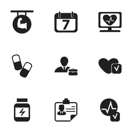 heart disease: Set Of 9 Editable Mixed Icons. Includes Symbols Such As Protein, Drug, Soul And More Illustration