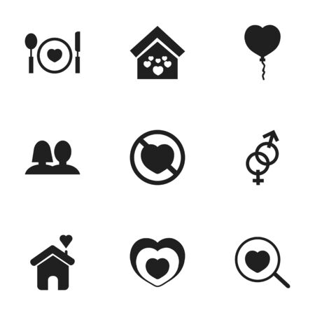 Set Of 9 Editable Heart Icons. Includes Symbols Such As Sexuality, Wedlock, Heartbeat And More Illustration