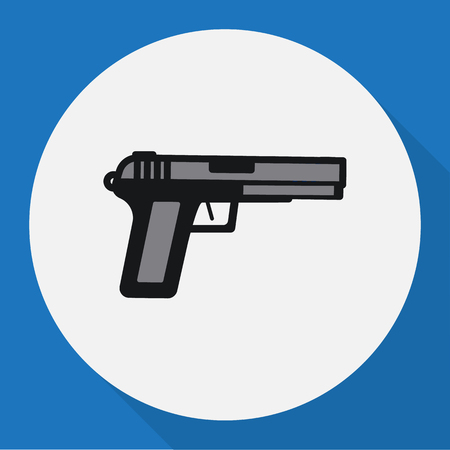 Vector Illustration Of Security Symbol On Weapon Flat Icon