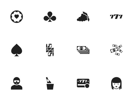 dime: Set Of 12 Editable Gambling Icons. Includes Symbols Such As Casino Chip, Bottle In Bucket, Shamrock And More
