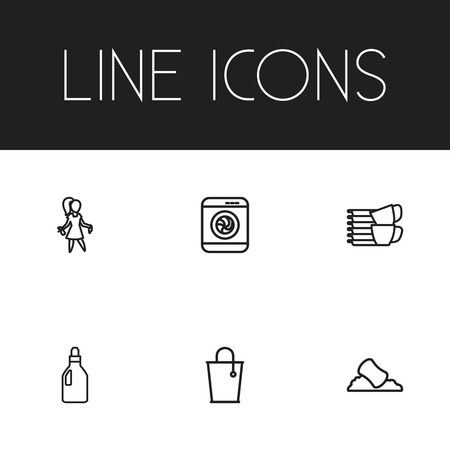 Set Of 6 Editable Cleanup Outline Icons. Includes Symbols Such As Washing Liquid, Bucket, Sponge And More Illustration