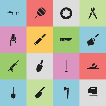 caulk: Set Of 16 Editable Tools Icons. Includes Symbols Such As Sealant, Spade, Screw Head And More