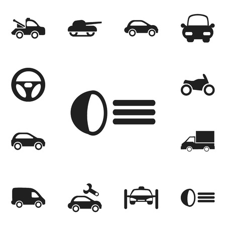 luminary: Set Of 12 Editable Shipment Icons. Includes Symbols Such As Luminary, Washing Auto, Motorbike And More