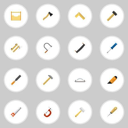 awl: Set Of 16 Editable Tools Flat Icons. Includes Symbols Such As Malleus, Clamp, Saw And More