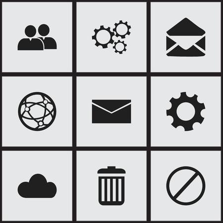 forbid: Set of 9 editable network icons. Illustration