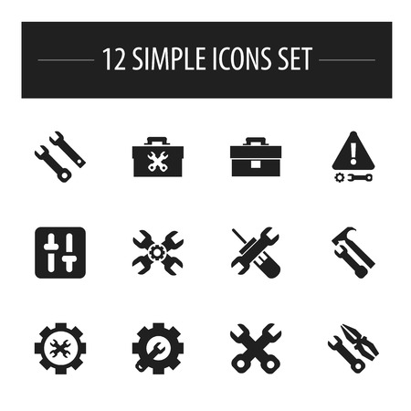 setup: Set Of 12 Editable Tool Icons. Includes Symbols Such As Spanner, Fixing Equipment, Wrench Hammer And More Illustration