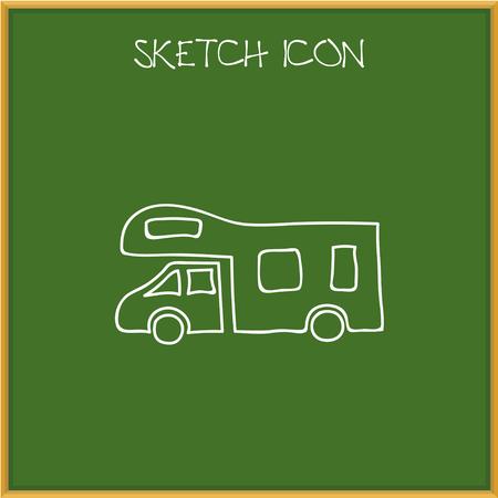 Vector Illustration Of Camping Symbol On Camper Doodle Illustration