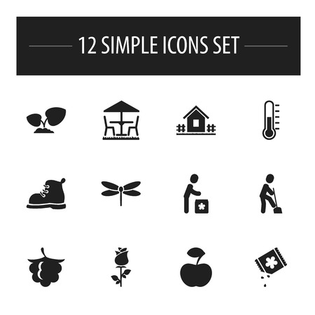 petiole: Set Of 12 Editable Planting Icons. Includes Symbols Such As Ploughman, Garden Seat, Temperature And More