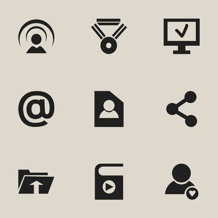 dossier: Set Of 9 Editable Network Icons. Includes Symbols Such As Lovely Profile, Connection, Computer And More