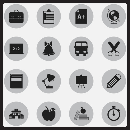 petiole: Set Of 16 Editable Knowledge Icons. Includes Symbols Such As Transport Vehicle, Earth Planet, Apple And More Illustration