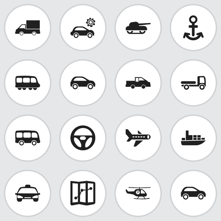 Set Of 16 Editable Shipment Icons. Includes Symbols Such As Weapon, Ship, Airplane And More