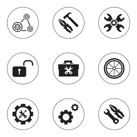 rackwheel: Set Of 9 Editable Toolkit Icons. Includes Symbols Such As Instrument, Fixing Equipment, Screwdriver Wrench And More