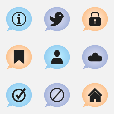 forbid: Set Of 9 Editable Web Icons. Includes Symbols Such As Profile, Deny, Dove And More