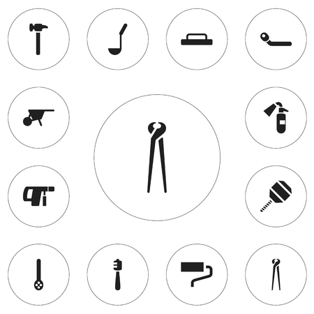 wheel barrow: Set Of 12 Editable Instrument Icons. Includes Symbols Such As Sprinkler, Honey Stick, Pincers And More
