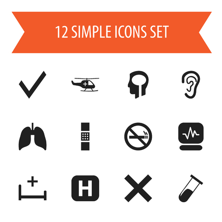 Set Of 12 Editable Health Icons. Includes Symbols Such As No Check, Pulse, Respiratory Organ And More