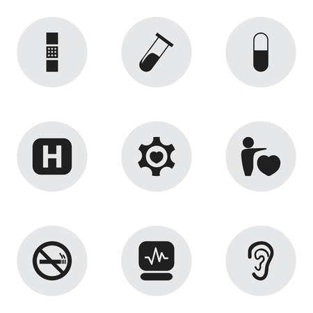 hospitalization: Set Of 9 Editable Hospital Icons. Includes Symbols Such As Pulse, Clinic, Stop Smoke And More Illustration
