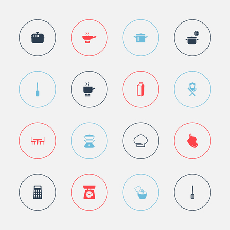 Set Of 16 Editable Cooking Icons. Includes Symbols Such As Milk Bottle, Saucepan, Dining Table And More