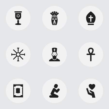 israel people: Set Of 9 Editable Dyne Icons. Includes Symbols Such As Sun Symbol, Shaman, Orison And More