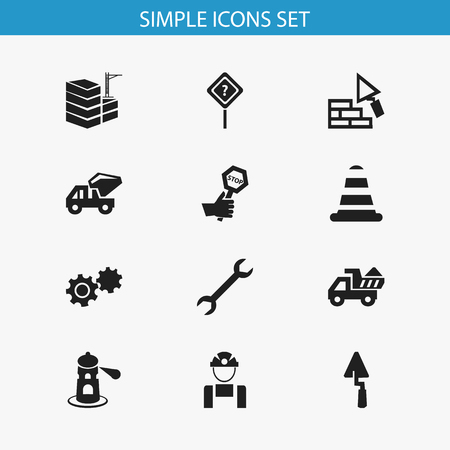 beware: Set Of 12 Editable Construction Icons. Includes Symbols Such As Wrench, Question Help, Employee And More