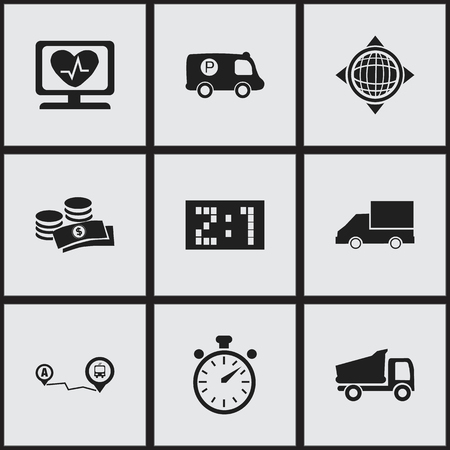 Set Of 9 Editable Mixed Icons. Includes Symbols Such As Truck, Coins, World And More
