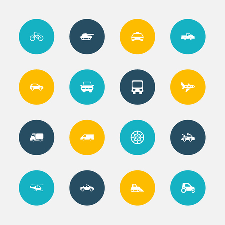 plow: Set Of 16 Editable Shipment Icons. Includes Symbols Such As Wheel, Weapon, Van And More