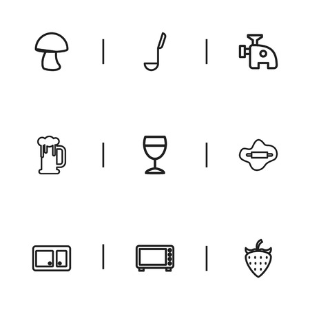 Set Of 9 Editable Cook Outline Icons. Includes Symbols Such As Cupboard, Berry, Rolling Pin And More Çizim