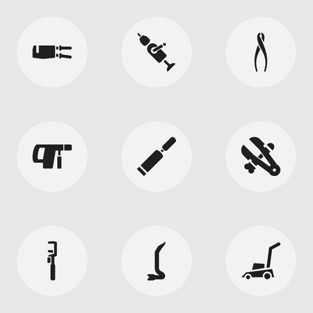 Set Of 9 Editable Equipment Icons. Includes Symbols Such As Grass Cutting Machine, Screwdriver, Pipe Wrench And More