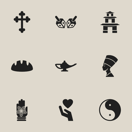 persuasion: Set Of 9 Editable Religion Icons. Includes Symbols Such As Pagoda, Cleopatra, Baguette And More