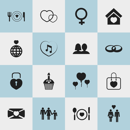 Set Of 16 Editable Passion Icons. Includes Symbols Such As Cutlery, Family, Wedlock And More Illustration