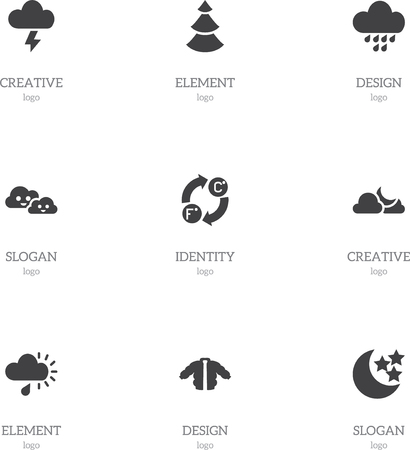 Set Of 9 Editable Weather Icons. Includes Symbols Such As Skyless, Moonlight, Cloudy And More