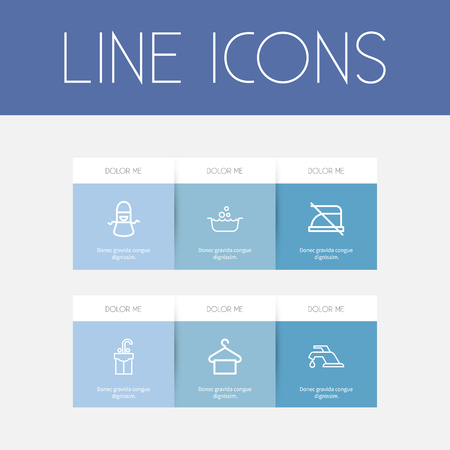 Set Of 6 Editable Cleaning Outline Icons. Includes Symbols Such As Suspender, Basin, Tap And More