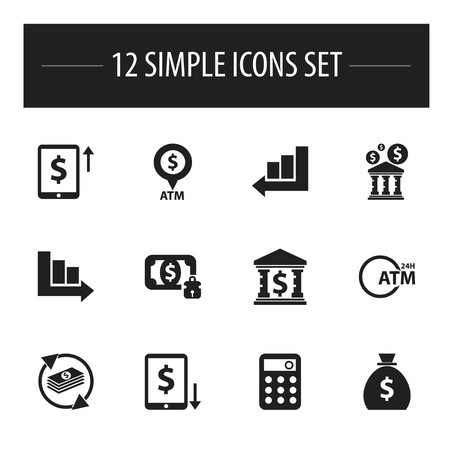palmtop: Set Of 12 Editable Financial Icons. Includes Symbols Such As Cash Growth, Arrow, Automatic Teller Machine And More Illustration