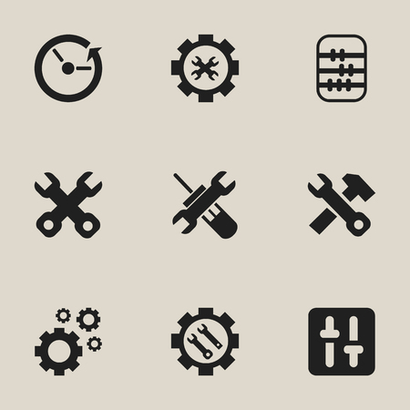 setup: Set Of 9 Editable Repair Icons. Includes Symbols Such As Settings, Options, Spanner And More Illustration