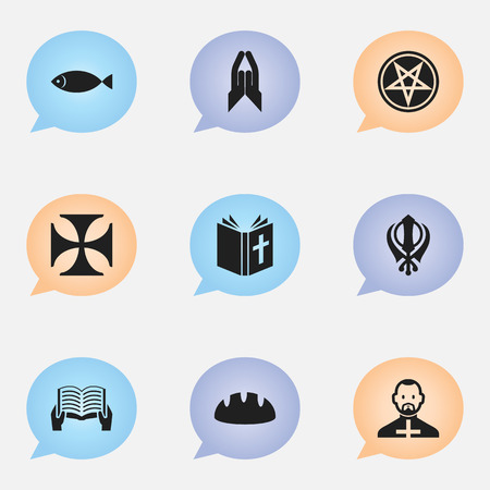 jewish: Set Of 9 Editable Dyne Icons. Includes Symbols Such As Jewish, Baguette, Baphomet Symbol And More